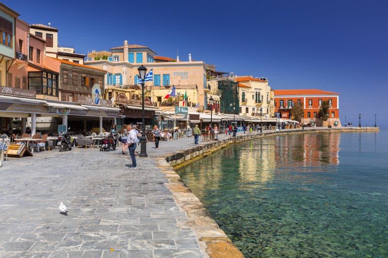 Puerto veneciano viejo de Chania en Creta fotos de archivo libres de regalías