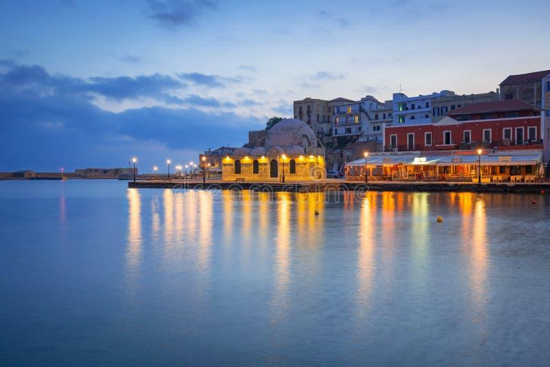 Puerto veneciano viejo de Chania en Creta, Grecia foto de archivo libre de regalías