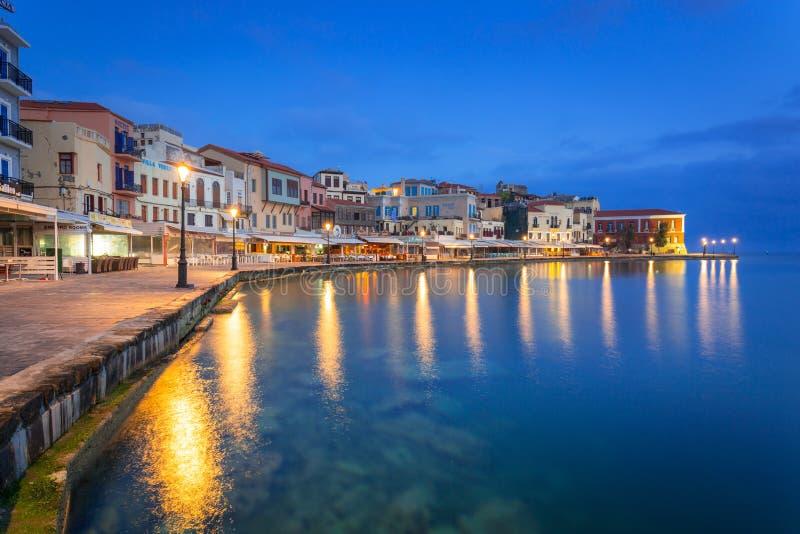 Puerto veneciano viejo de Chania en Creta, Grecia imágenes de archivo libres de regalías