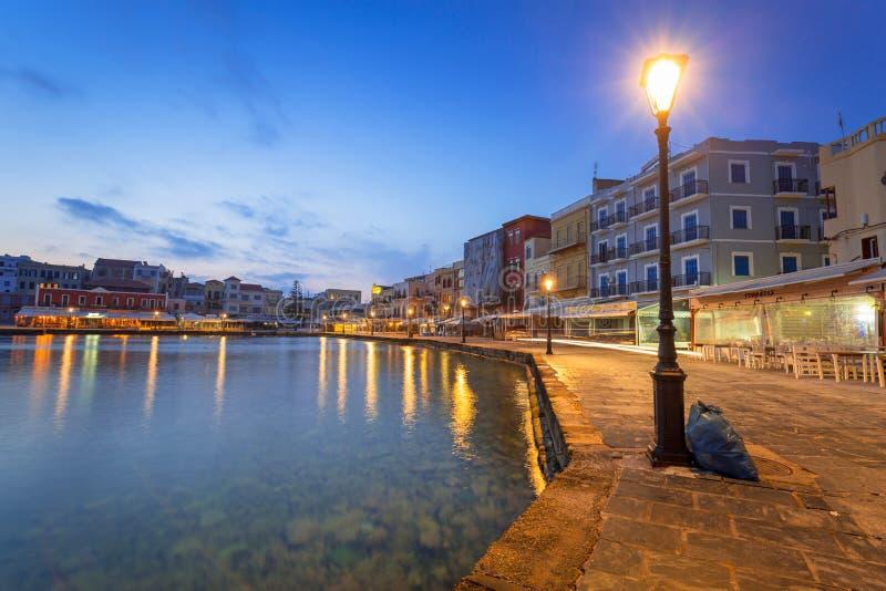 Puerto veneciano viejo de Chania en Creta, Grecia fotografía de archivo