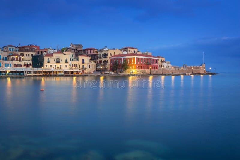 Puerto veneciano viejo de Chania en Creta, Grecia fotos de archivo libres de regalías