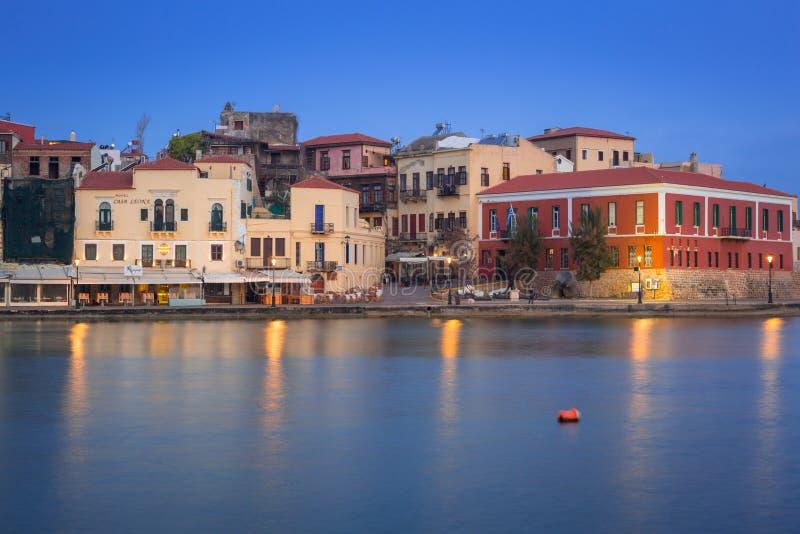 Puerto veneciano viejo de Chania en Creta, Grecia imagen de archivo