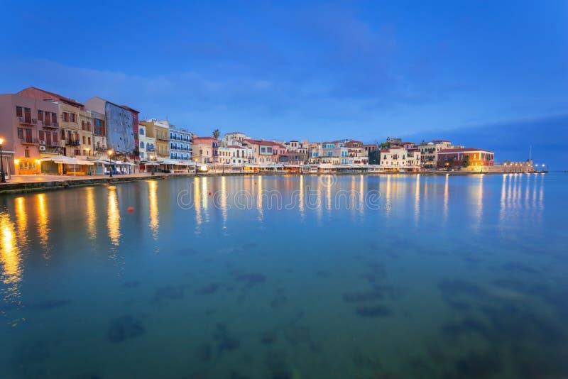 Puerto veneciano viejo de Chania en Creta, Grecia fotos de archivo