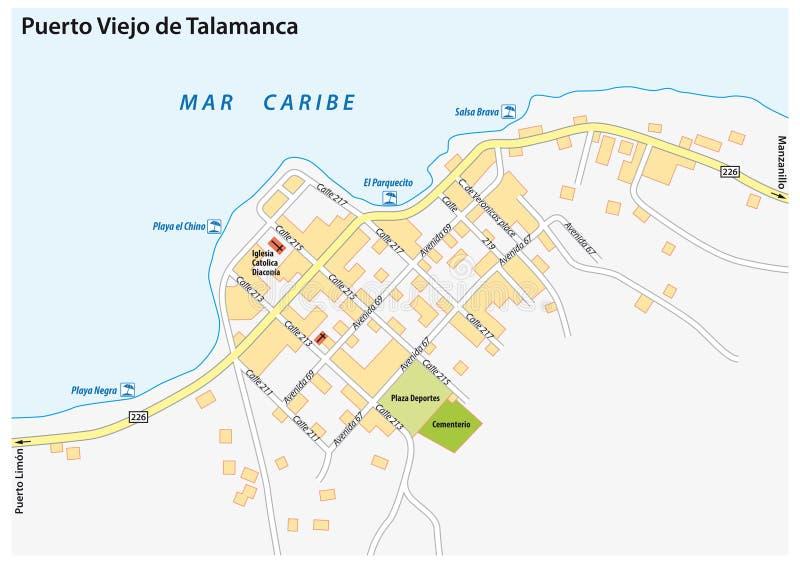 Puerto Viejo de Talamanca miasta wektorowa mapa, Costa Rica royalty ilustracja