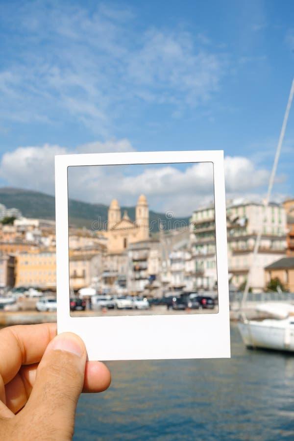 Puerto viejo y ciudad vieja de Bastia, Francia imágenes de archivo libres de regalías