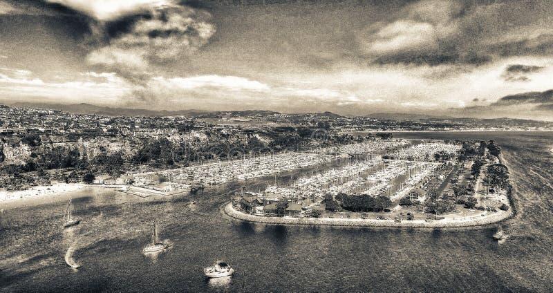 Puerto y barcos, visión aérea - California de Dana Point fotografía de archivo libre de regalías