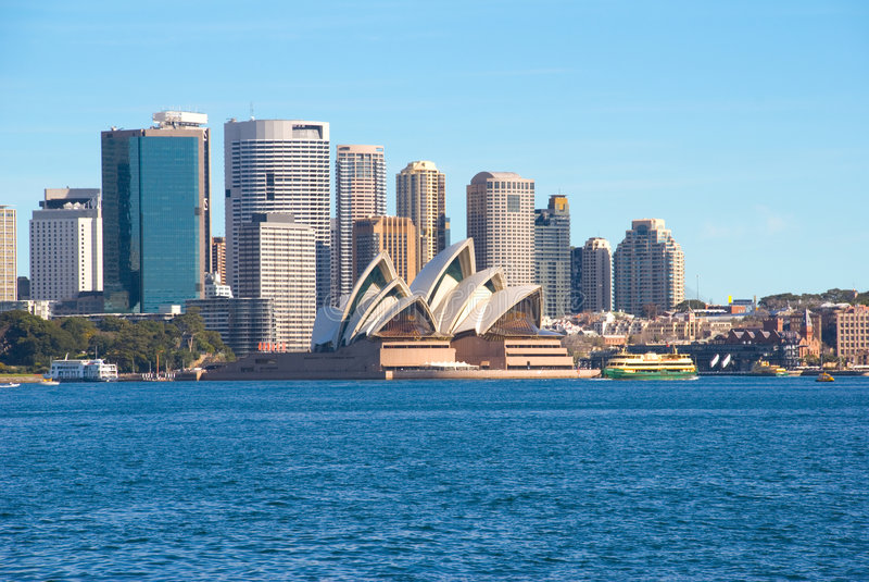 Puerto y ciudad de Sydney fotos de archivo