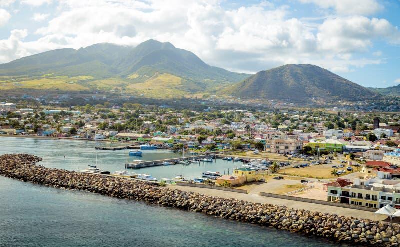 Puerto Zante en la isla del St San Cristobal imagen de archivo