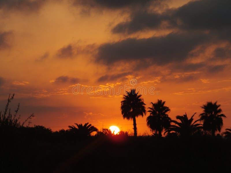 Puesta de solenoid en Torrevieja/solnedgång i Torrevieja royaltyfri bild