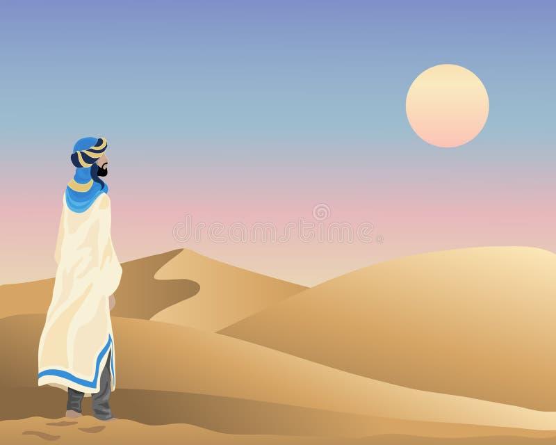 Puesta del sol árabe stock de ilustración