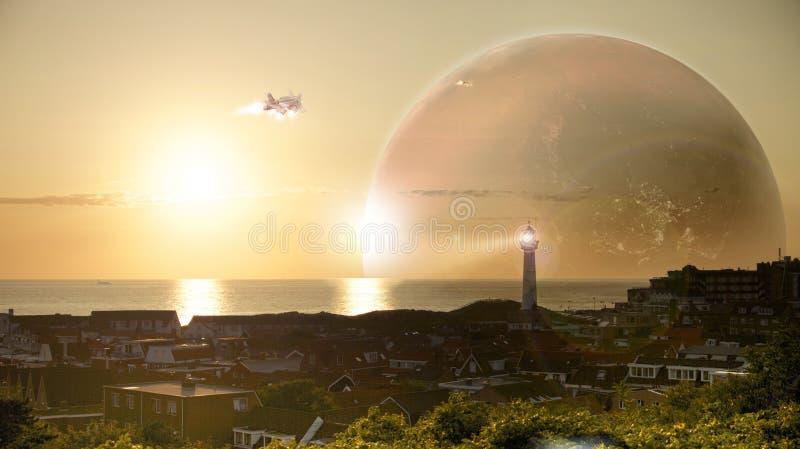 Puesta del sol épica en la orilla foto de archivo