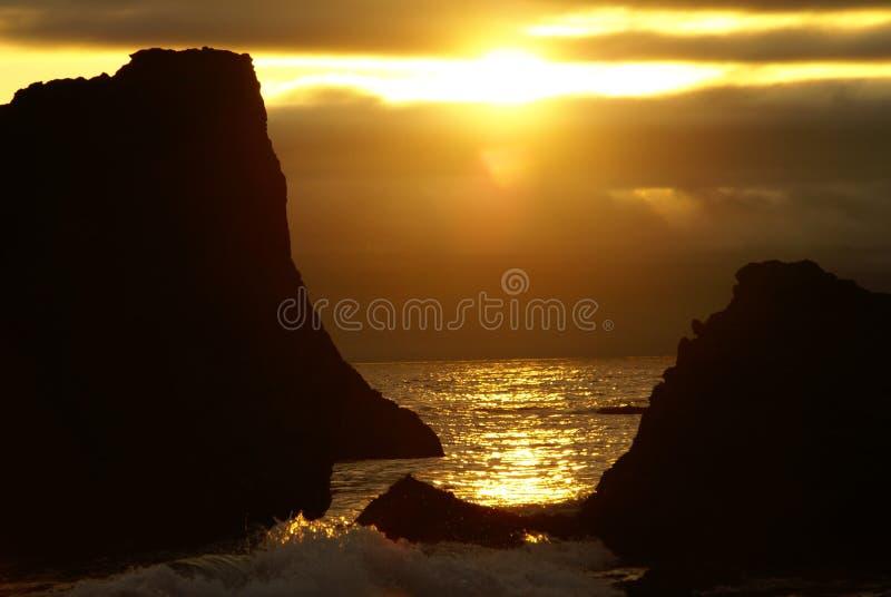 Puesta del sol 4 de la costa de Oregon imágenes de archivo libres de regalías
