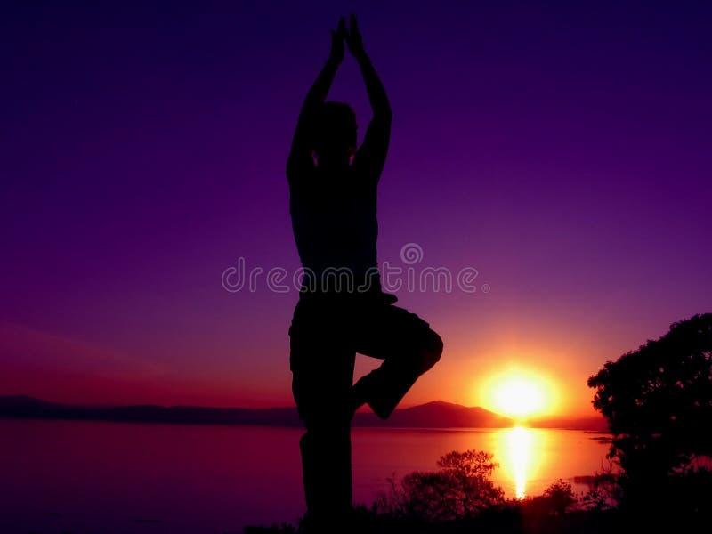 Puesta del sol 6 de la yoga foto de archivo