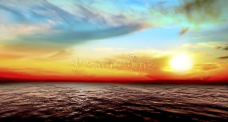 Puesta del sol abstracta del mar y del cielo imagen de archivo