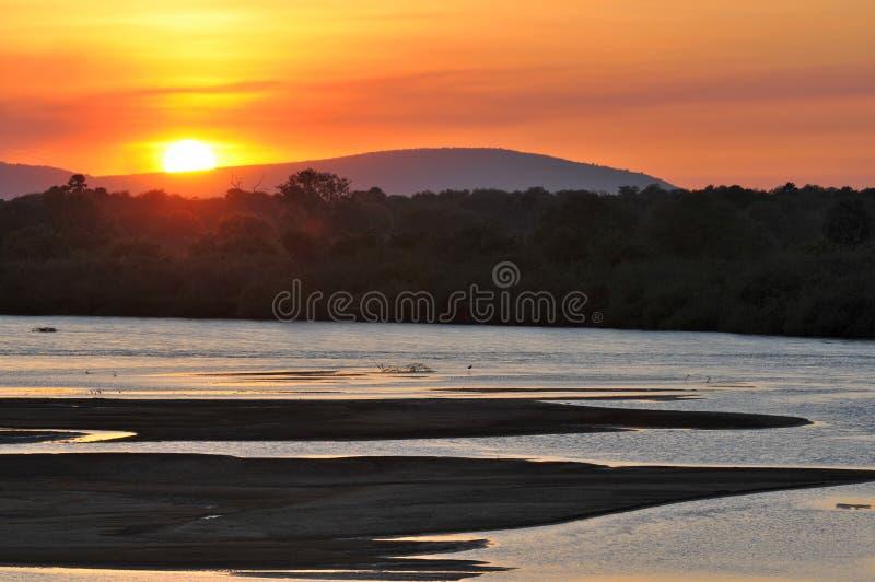 Puesta del sol africana foto de archivo libre de regalías