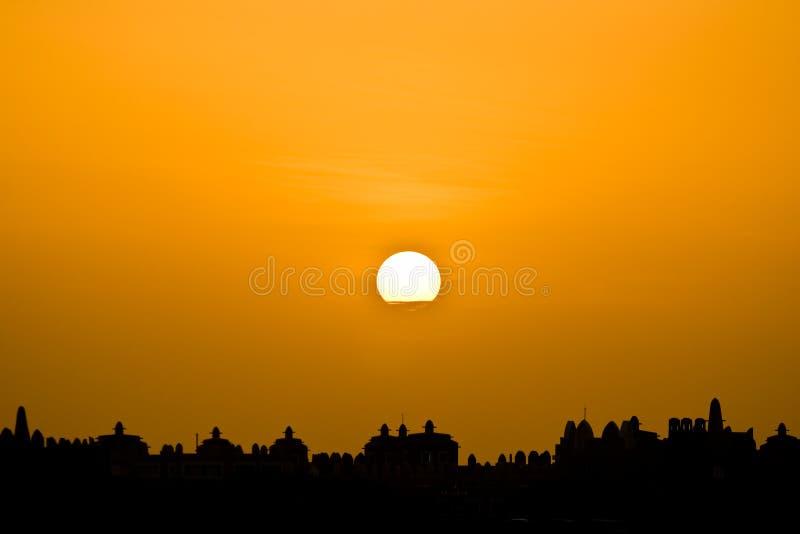 Puesta del sol africana en Cabo Verde foto de archivo libre de regalías