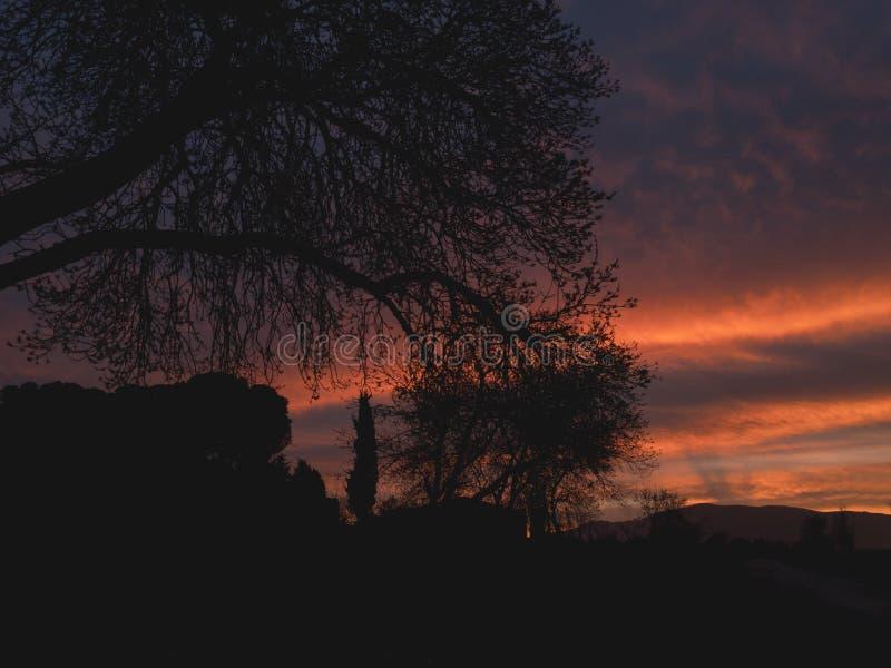 Puesta del sol agradable en el campo fotografía de archivo