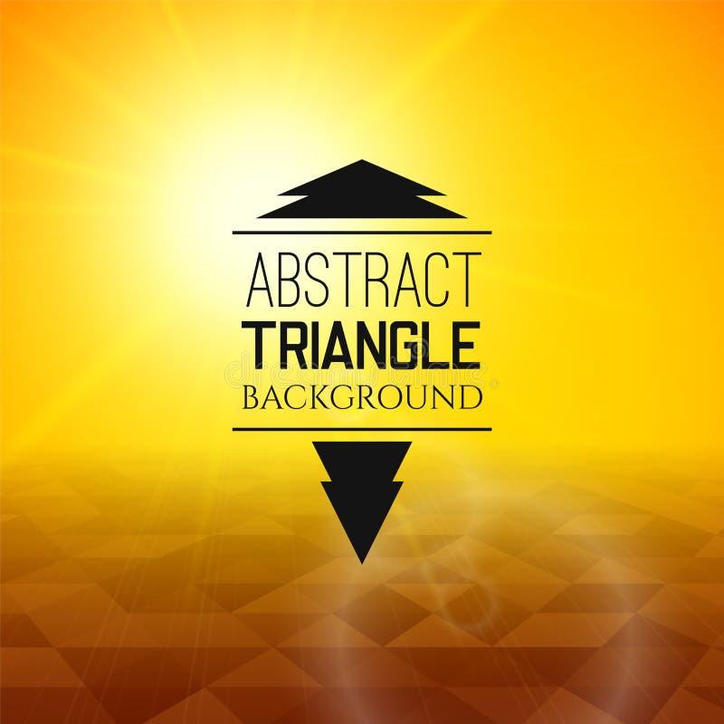 Puesta del sol amarilla abstracta con el campo oscuro del triángulo, modelo perspetive en niebla soleada ilustración del vector