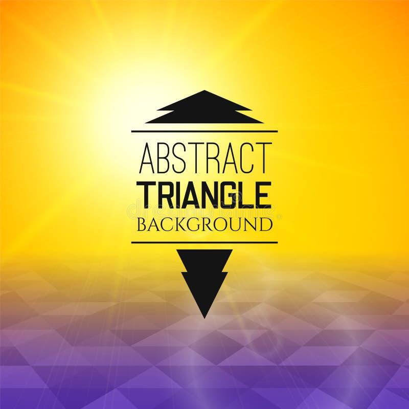 Puesta del sol amarilla abstracta con el campo púrpura del triángulo ilustración del vector