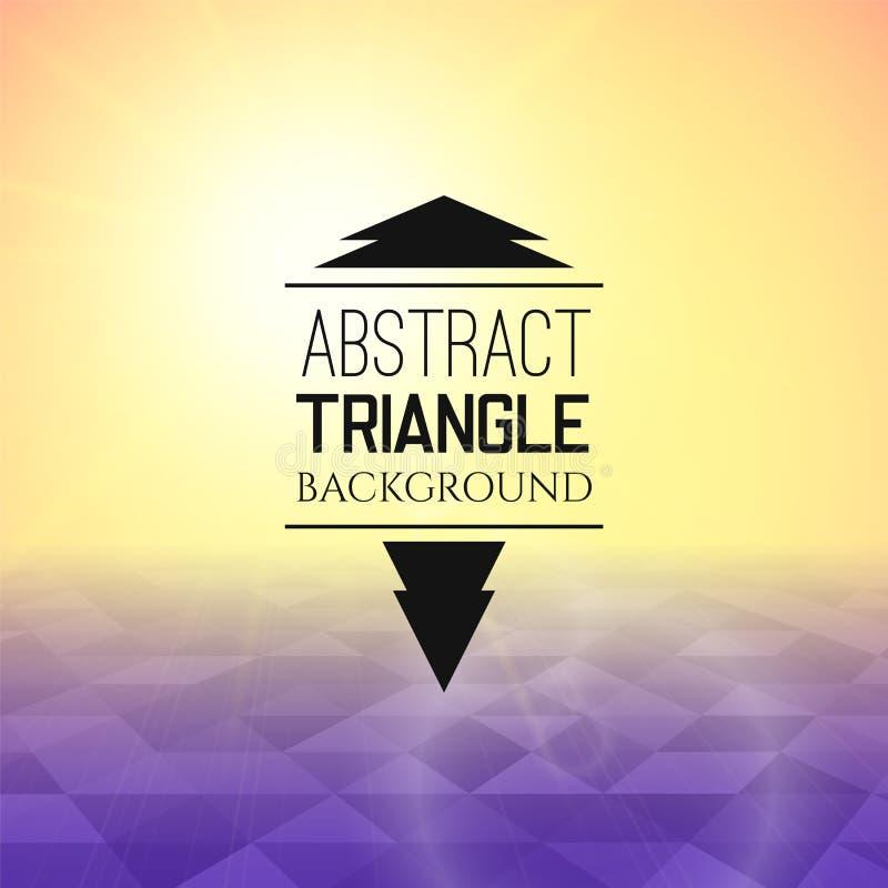 Puesta del sol amarilla abstracta con el campo púrpura del triángulo, modelo perspetive en niebla soleada libre illustration