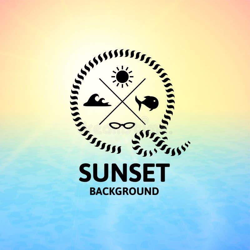 Puesta del sol amarilla con la superficie del mar del agua azul libre illustration