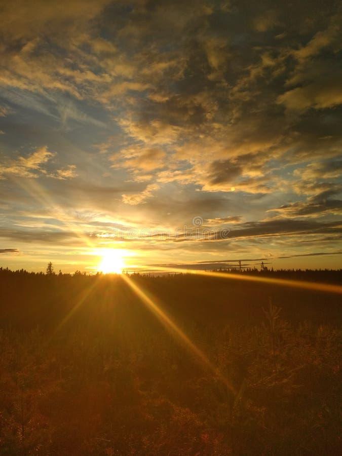 Puesta del sol ambarina foto de archivo libre de regalías