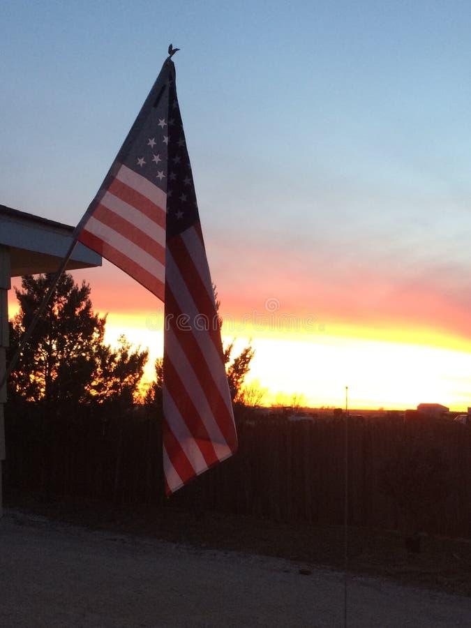 Puesta del sol americana imagen de archivo libre de regalías