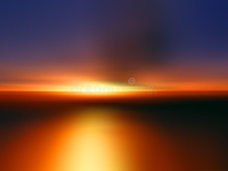 Puesta del sol anaranjada stock de ilustración