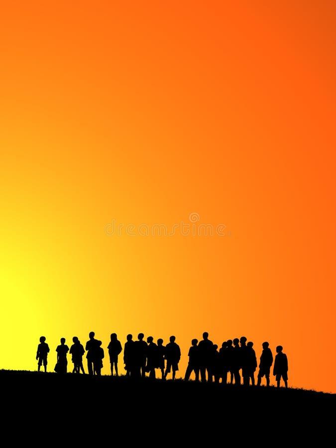 Puesta del sol anaranjada libre illustration