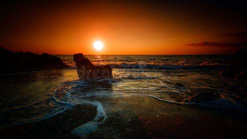 Puesta del sol anaranjada fotografía de archivo