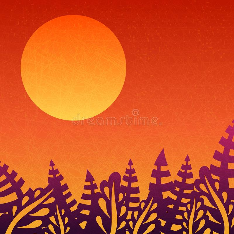 Puesta del sol anaranjada Fondo agradable de la pendiente Sol grande Fondo con las hojas, las puestas del sol y el sol de salida  ilustración del vector