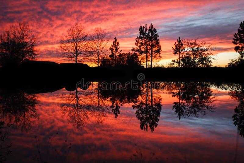 Puesta del sol ardiente dramática con reflexiones en agua fotos de archivo