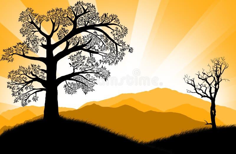 Puesta del sol asombrosa ilustración del vector