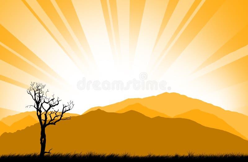 Puesta del sol asombrosa stock de ilustración