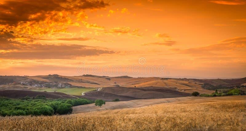 Puesta del sol asombrosa en Toscana imagen de archivo