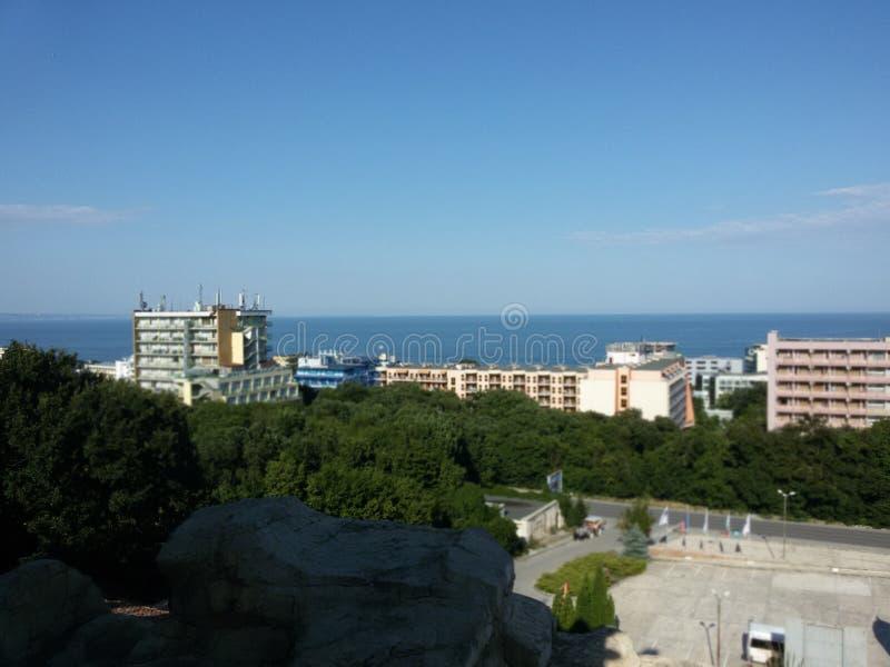 Puesta del sol asombrosa en Varna Bulgaria fotos de archivo
