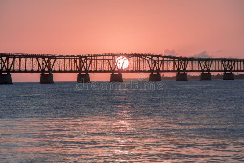 Puesta del sol Bahia Honda Bridge foto de archivo libre de regalías