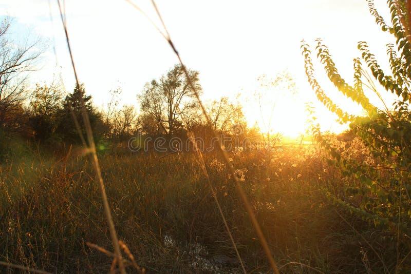 Puesta del sol baja de Kansas foto de archivo