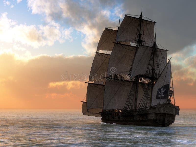 Puesta del sol del barco pirata stock de ilustración