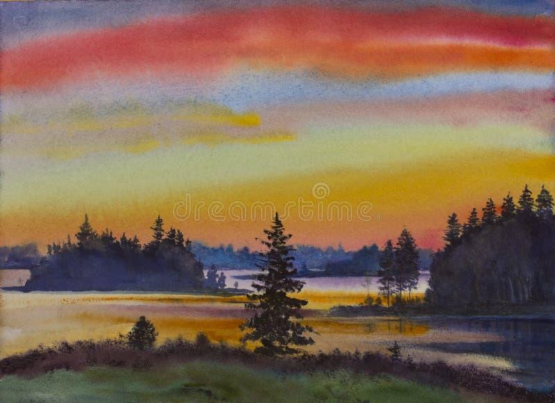 Puesta del sol brillante en la isla libre illustration