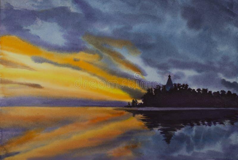 Puesta del sol brillante en la isla de Valaam ilustración del vector