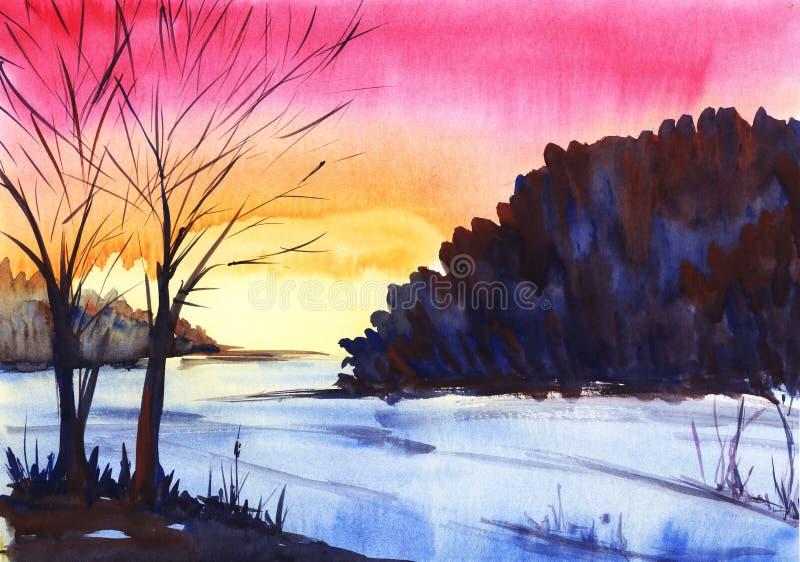 Puesta del sol brillante Paisaje del invierno Silueta del árbol en un fondo rosado-anaranjado de la pendiente ilustración del vector