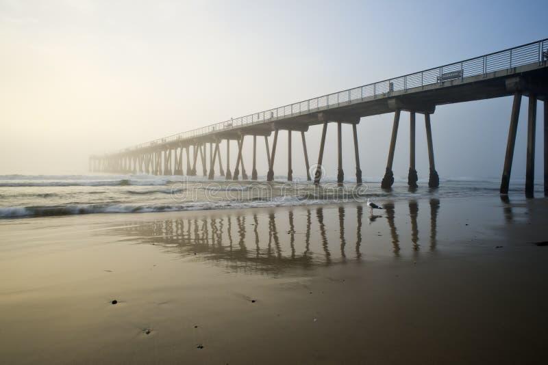Puesta del sol brumosa del embarcadero de la playa de Hermosa imagen de archivo libre de regalías