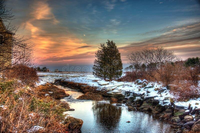 Puesta del sol del bulevar del océano en Rye, New Hampshire foto de archivo