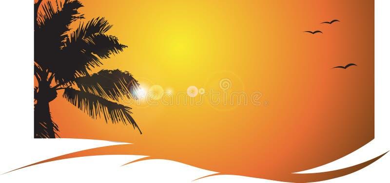 Puesta del sol caliente con la palmera, tropical stock de ilustración