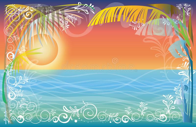 Puesta del sol del capítulo del fondo en la playa del mar del diseño de la naturaleza ilustración del vector