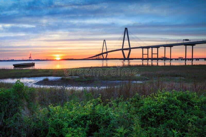 Puesta del sol Charleston South Carolina foto de archivo