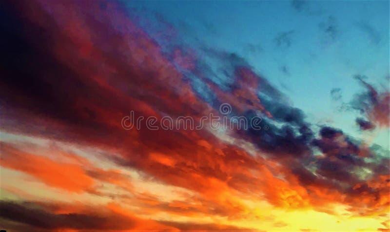 Puesta del sol, cielo del cuento de hadas y colores imagen de archivo libre de regalías