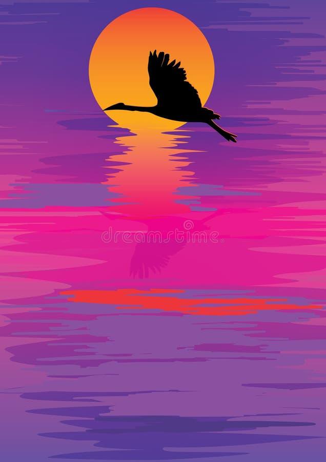 Puesta del sol colorida Bird_eps del cielo stock de ilustración