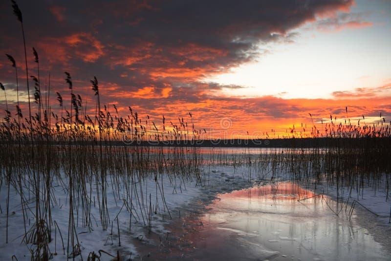 Puesta del sol colorida sobre un lago congelado imagen de archivo libre de regalías